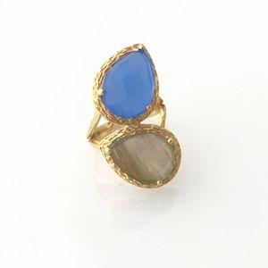 Double Gemstone Split Shank Gold Ring